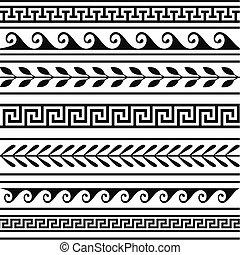 grek, geometryczny, komplet, brzegi