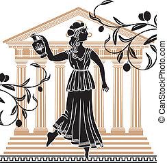 grek, kvinna, tempel, amfora
