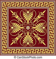 grek, ozdoba, złoty, (meander)