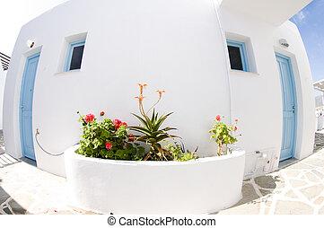 grek, paros, ö, arkitektur, typisk