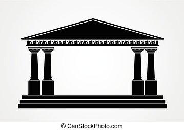 grek, parthenon, biały, odizolowany, tło