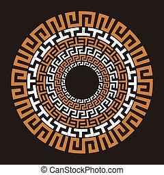 grek, starożytny, okrągły, klucz, meandry
