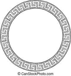 grek, starożytny, okrągły, ornament.