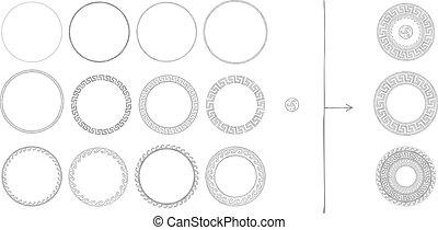 grek, starożytny, ozdoba, okrągły