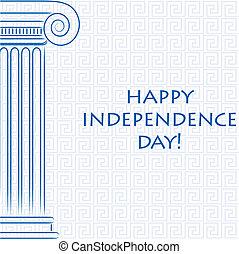 grek, szczęśliwy, niezależność, day!