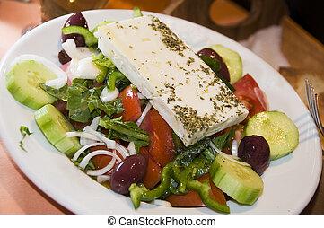 grek, taverna, sallad, restaurang