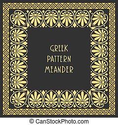 grek, ułożyć, wektor, ozdoba, meandry