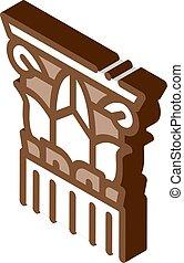 grek, vektor, isometric, illustration, kolonn, trått, ikon