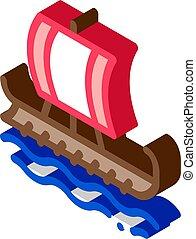 grek, vektor, isometric, illustration, skepp, ikon, köpman
