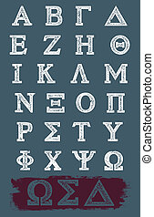 grek, wektor, grunge, alfabet