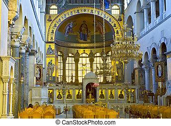 grekisk ortodox, kyrka, inre, helgon, dimitrios, av,...