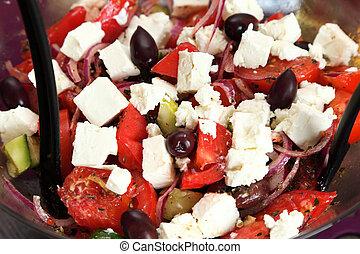 grekisk sallad, färsk grönsak, sallad