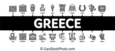 grekland, infographic, historia, baner, vektor, land, ...