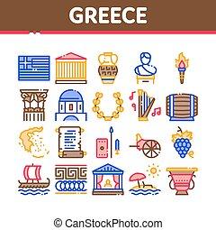 grekland, sätta, historia, vektor, land, kollektion, ikonen