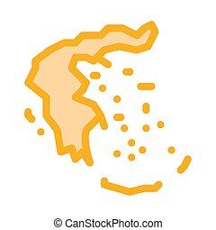 grekland, vektor, illustration, karta, ikon, skissera