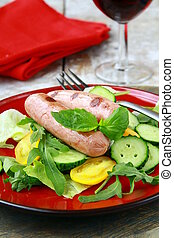 grelhados, almoço, linguiça, salada