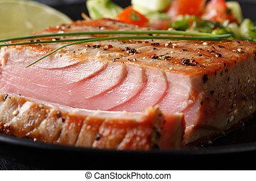 grelhados, bife atum, com, pimenta, macro., horizontais