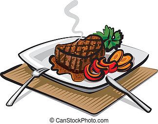grelhados, bife, carne