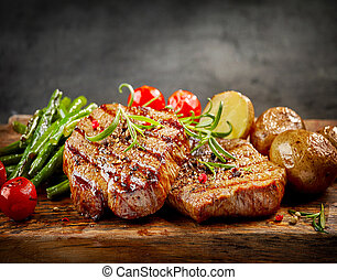 grelhados, carne, bifes