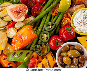 grelhados, fim, legumes, cima, coloridos