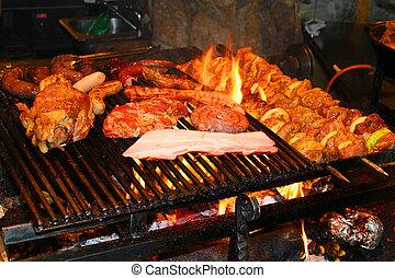 grelhados, gostosa, churrasco, carne