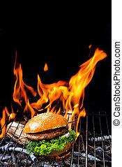grelhados, hambúrguer, linguiça