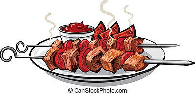 grelhados, kebab