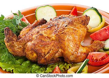 grelhados, legumes frescos, frango inteiro
