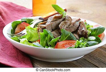 grelhados, morno, salada carne