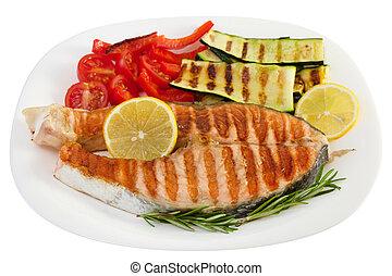grelhados, prato, peixe, legumes