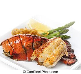 grelhados, rabo, lagosta