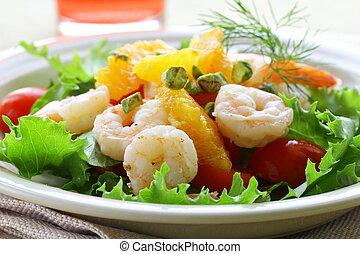 grelhados, salada, camarão