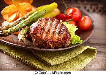 grelhados, steak carne, carne, com, legumes
