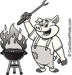 grelhando, bbq, ilustração, porca