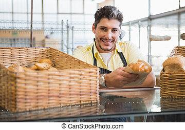 grembiule, sorridente, bread, presa a terra, server
