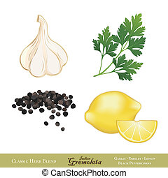Gremolata, classic Italian sauce, condiment, blend of Garlic, Italian Flat Leaf Parsley, Lemon zest, Black Peppercorns, served with meats, seafood. EPS8 compatible. Isolated on white.