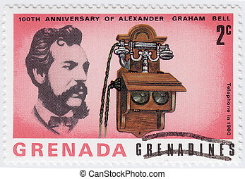 GRENADA - CIRCA 1997 : stamp printed in Grenada shows Alexander Graham Bell scientist, inventor, engineer, innovator and creator of the telephone, circa 1997