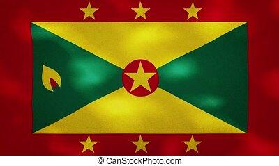 Grenada dense flag fabric wavers, background loop - Grenada ...