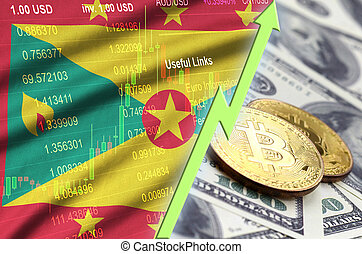 Grenada flag and cryptocurrency growing trend with two bitcoins on dollar bills