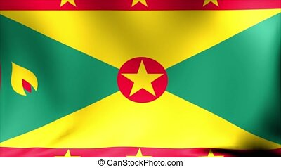 Grenada Flag. Background Seamless Looping Animation. 4K High Definition Video.