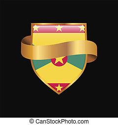 Grenada flag Golden badge design vector
