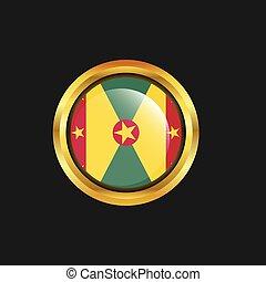 Grenada flag Golden button