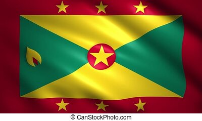 Grenada flag moves in the wind