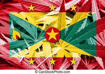 Grenada Flag on cannabis background. Drug policy. ...