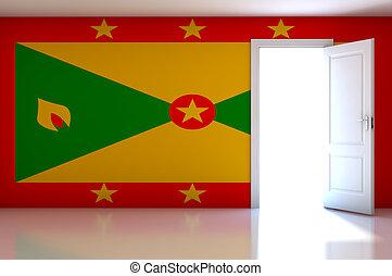 Grenada flag on empty room