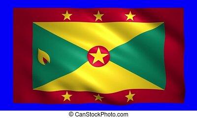 Grenada flag on green screen for chroma key