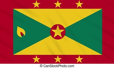 Grenada flag waving cloth, ideal for background, loop