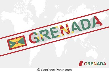 Grenada map flag and text illustration