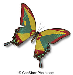 grenada markierungsfahne, auf, papillon
