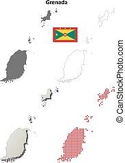 Grenada outline map set
